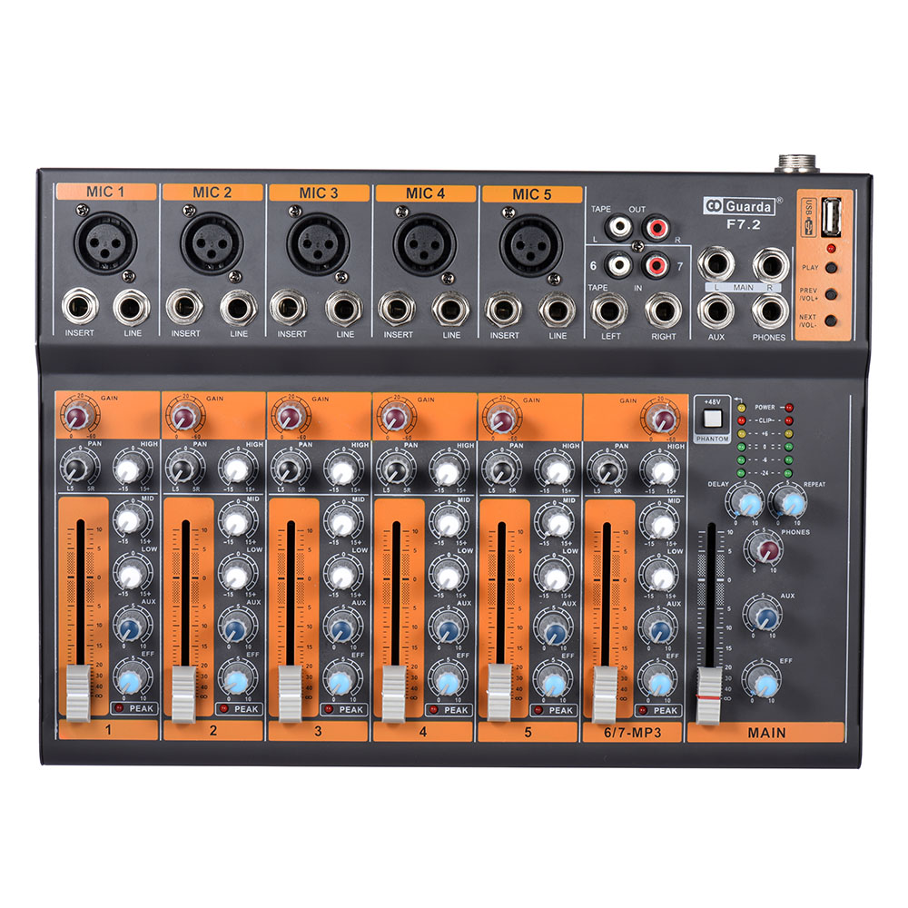 portable 7 channel mic line audio mixer mixing console 3 band eq usb interface 48v phantom power. Black Bedroom Furniture Sets. Home Design Ideas
