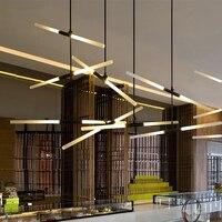Arts Deco AC85 265V Modern Led Pendant Lights For Lobby Dining Living Room Gold Black Acrylic