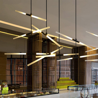 Arts Deco AC85 265V Modern Led Pendant Lights For Lobby Dining Living Room Gold Black Acrylic