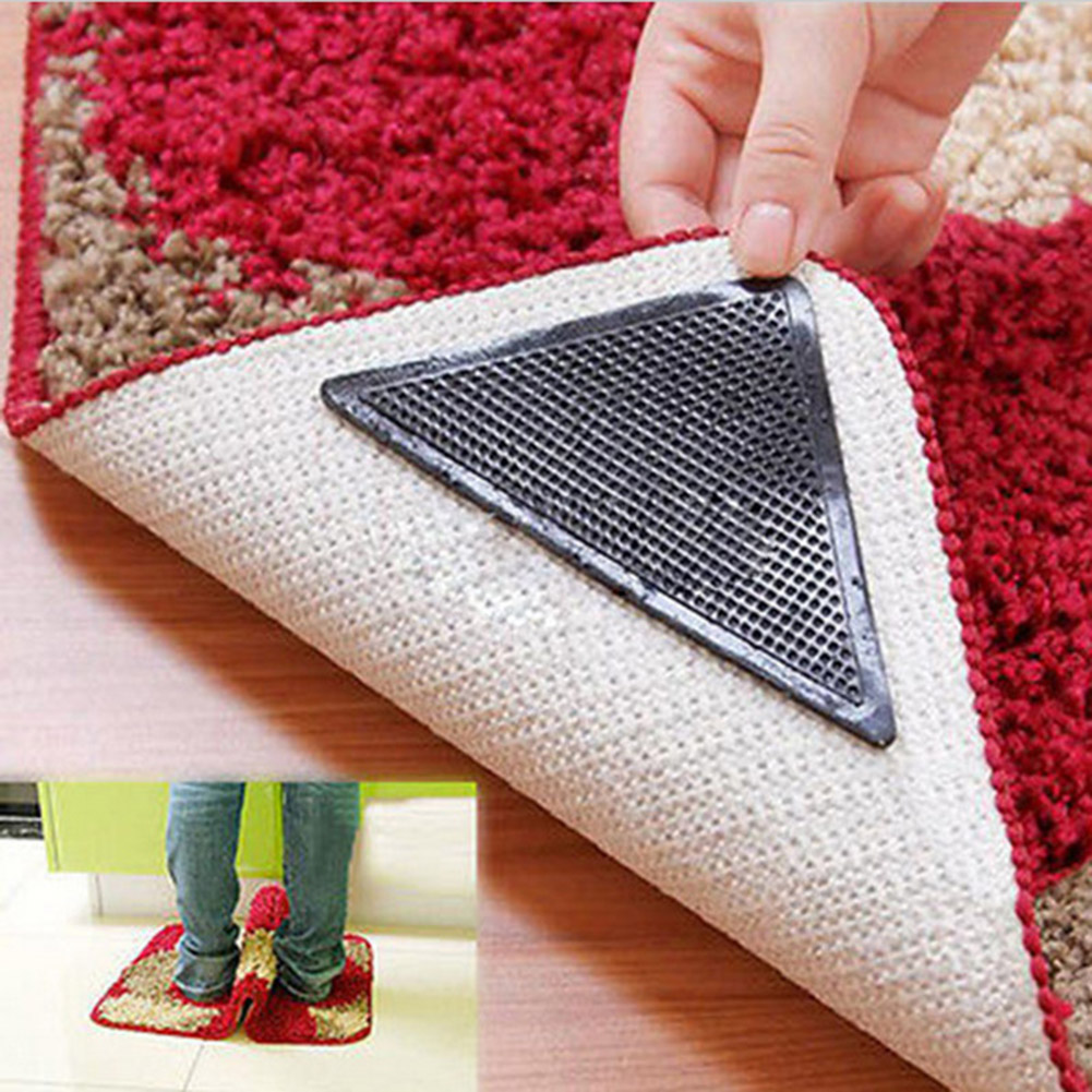 4 Pcs Rug Carpet Mat Grippers Non Slip Reusable Washable Silicone Grip Slip stickers Bathroom