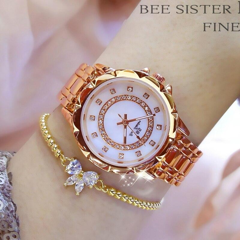 Diamond Women Luxury Brand Watch 2019 Rhinestone Elegant Ladies Watches Gold Clock Wrist Watches For Women relogio feminino 2020 5