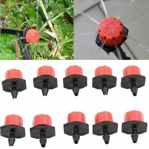CLOS 10pcs Garden ชลประทานหม้อน้ำ Micro Flow Dripper หัวหยด 1/4 ''สีดำสีแดง