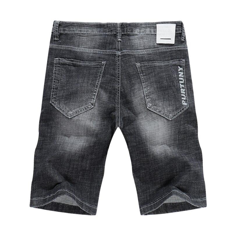 KSTUN Men's Jeans Shorts Summer Thin Slim Fit Grey Stretch Joggers Distressed Ripped Jeans Denim