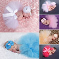 Baby Girls Newborn Head Flower Tutu Skirt Costume Infant Tulle Tutu with Matching Flower Headband Set Photography Prop
