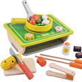 Pretend Play Simulation Kitchen Toy Set Wooden Block Toy Grill Children Boy Girl Gift Hand-eye Coordination Ability Training
