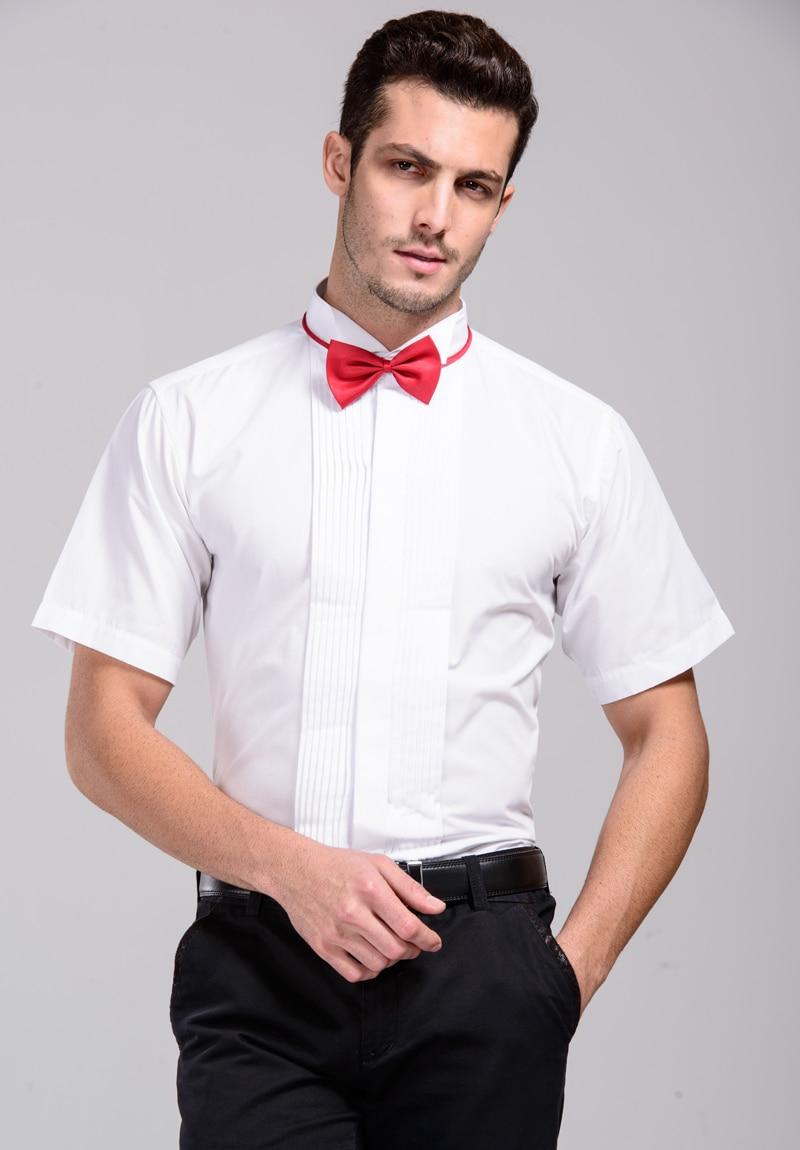High Quality Formal Men Dress Shirts White Tuxedo Shirts Short