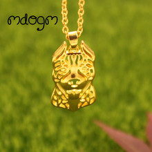 2017 Cute American Pitbull Necklace Dog Animal Pendant Gold Silver Plated Jewelry For Women Female Girls Kids Ladies N058