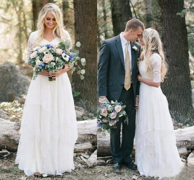 2019 Country Bohemian Wedding Dresses Cheap Lace Modest V Neck Half ...