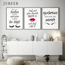 Makeup art Eyelashes Posters and Prints Lipstick Fashion Pictures Bedroom Decoration on The Wall Modern Home Decor