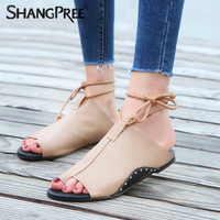 New Women Shoes Spring Summer Slippers PU Leather Lace Up Women Flip Flops Wedges Sandals Strap