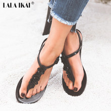 6bf7f2ab902931 LALA IKAI Flip Flops Sandals Women Flat Sandal Summer Beach Slippers With  Flower Solid Casual Jelly Shoes For Girl Lady F1121-25