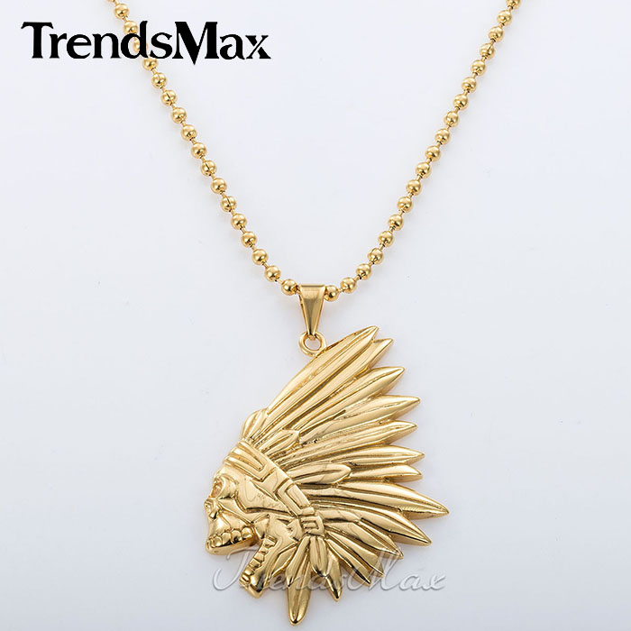 Trendsmax 3mmMens Chain Beaded Ball Gold Tone Native American