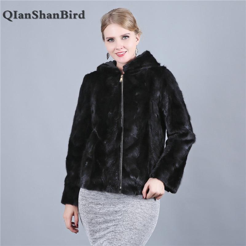 Натуральный мех норки модные пальто узкого кроя из натуральной кожи простая одежда теплые натуральной Меховая куртка Для женщин верхняя од...