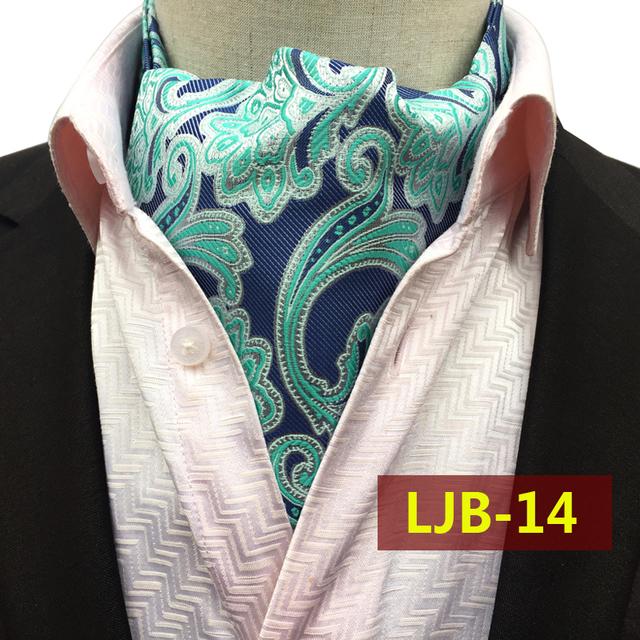 2017 Caballeros de Moda Pañuelo de Cuello Azul con Verde Menta Paisley Pañuelo Alta Calidad Tejida