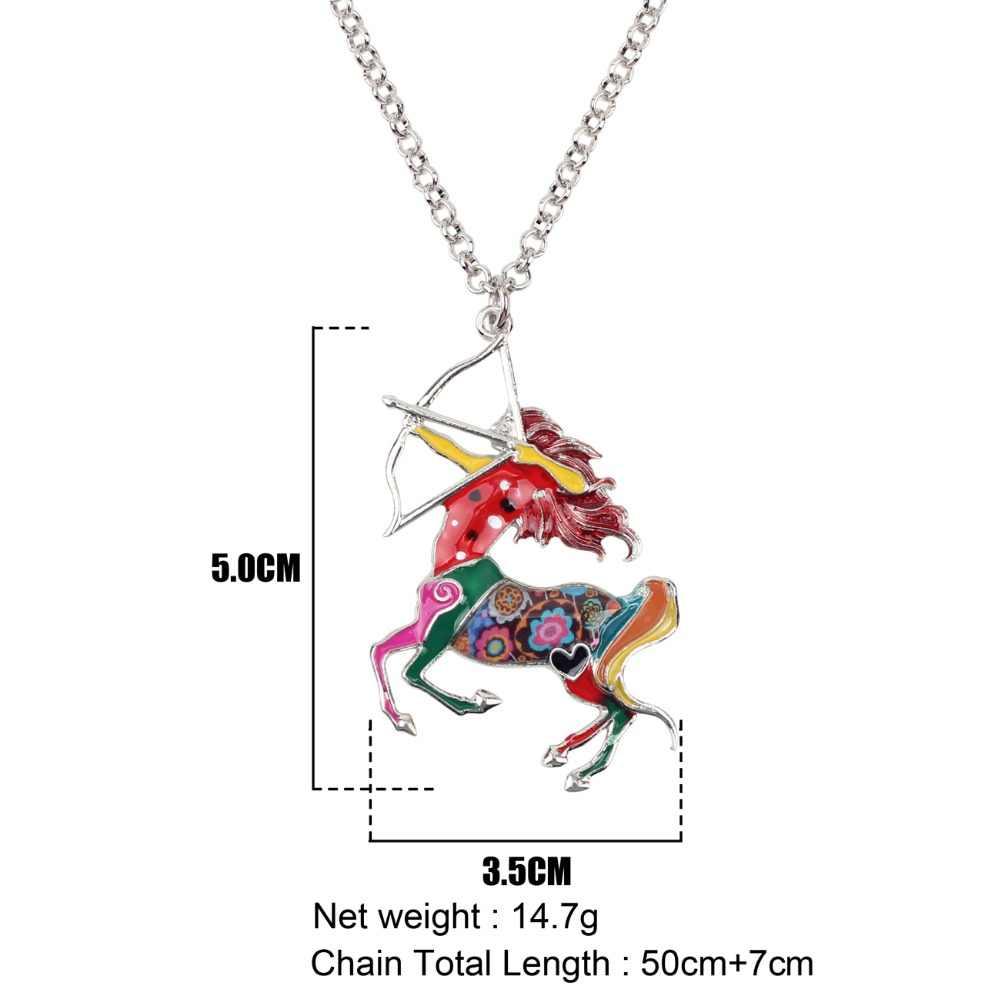 Bonsny Maxi Tuyên Bố Kim Loại Hợp Kim May Mắn Hoàng Đạo Sagittarius Necklace Chain Choker Pendant Trang Sức Thời Trang Men Cho Phụ Nữ Cô Gái