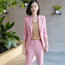 b774e32441 2019 Rosa Branco Preto Blazer Vestido Formal Elegante das Mulheres Das Senhoras  Desgaste do Trabalho Jaqueta e casacos Paletós .