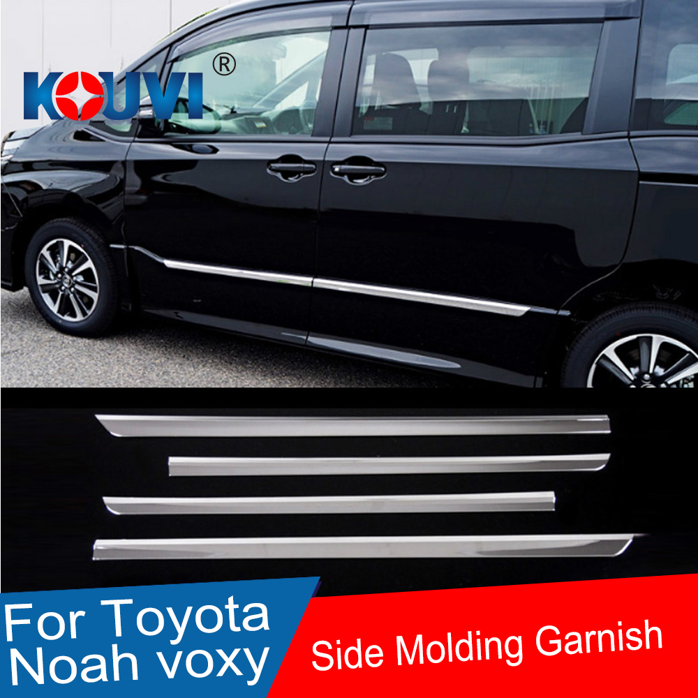 SIDE DOOR BODY MOLDING TRIM COVER LINE GARNISH STICKER ACCESSORIES 4PCS/SET For Toyota Noah Voxy 80 Series 2014 2015 2016 2017 серьги чароит