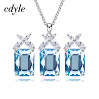 Cdyle Embellished with crystal Jewelry Sets Pandent Necklace Piercing Earrings Crystal Jewelry Set For Women