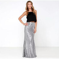 Free shipping Sparkle Shining Small Medium Large Plus Size Sexy Silver Skirt Sequin Skirt Maxi Skirt Custom Fashion Style Skirts