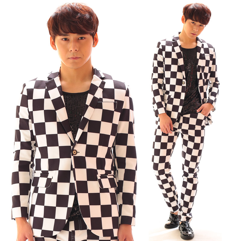 2018 New Men clothing Singer fashion slim DJ Black-and-white grid suit plus size Suits Host dress costumes S-5XL