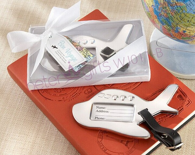 travel themed wedding gift and favors of airplane luggage tag with double tags bridal shower party