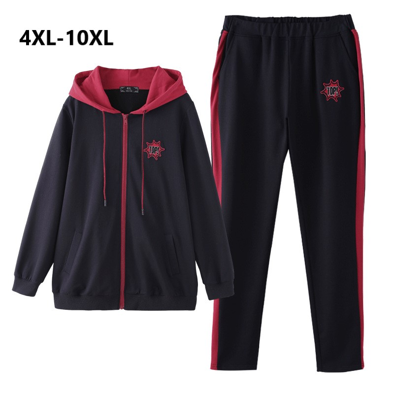 Plus Size 10XL 8XL 6XL 4XL Women Spring Autumn Set Long Sleeves Hooded Casual Tops And
