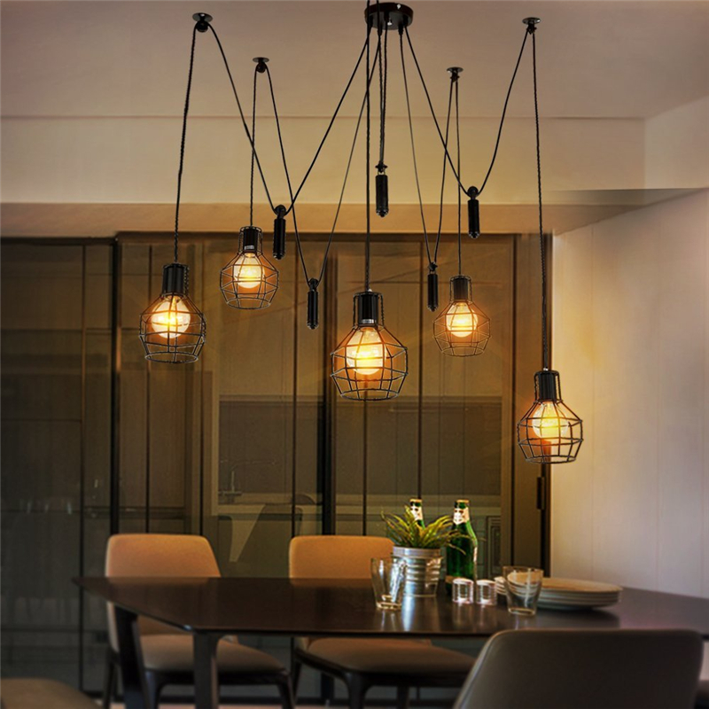 europe vintage loft industrial style iron cages pendant lights bar - Home Decor Lights