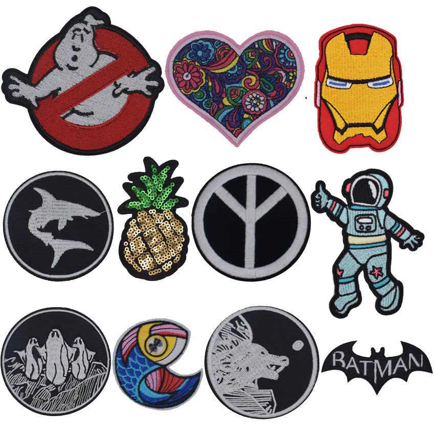 Arc-en-ciel paix Ghostbusters poissons amour Batman Acdc patchs pour vêtements Patchwork brodé Appliques vêtement autocollants Badge