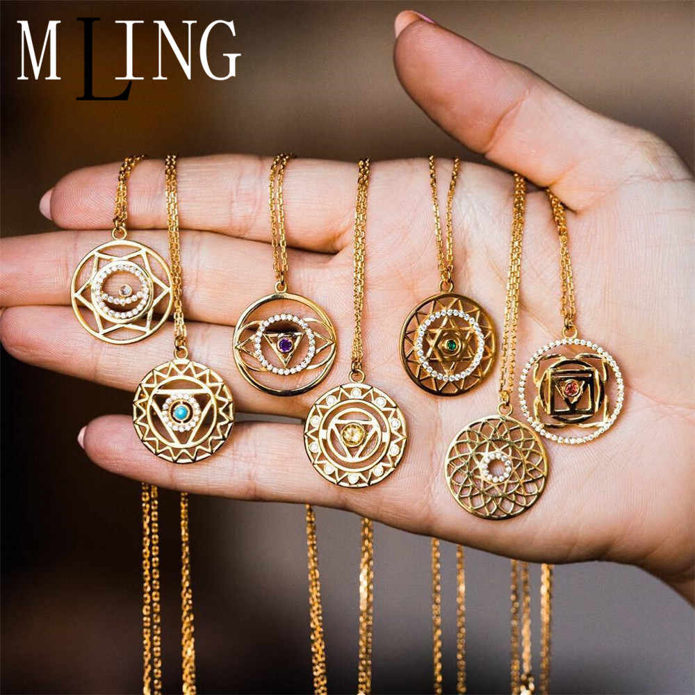 MLING New Gold Seven Chakras Necklace Vintage Multicolor Crystal Hollow Pendant Necklace For Women