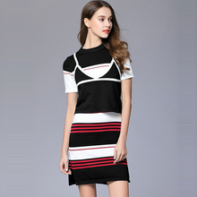 2017 Fashion European Women Dress 2 Piece Suit Knitted Dresses Camis + Striped Printed Spring Summer Dress For Women