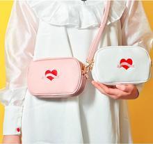 Angelatracy 2019 New Arrival Fashion Embroidery Heart White Japan Korea Style Girl Hot Women Shoulder Bag Crossbody Flap