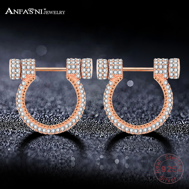 Anfasni Newest 925 Sterling Silver Horseshoe Earrings With Aaa Clear Cz Stone For Women