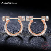 ANFASNI Newest Romantic 925 Sterling Silver Horseshoe Earrings With AAA Clear CZ Stone For Women Sterling Silver Jewelry 0065