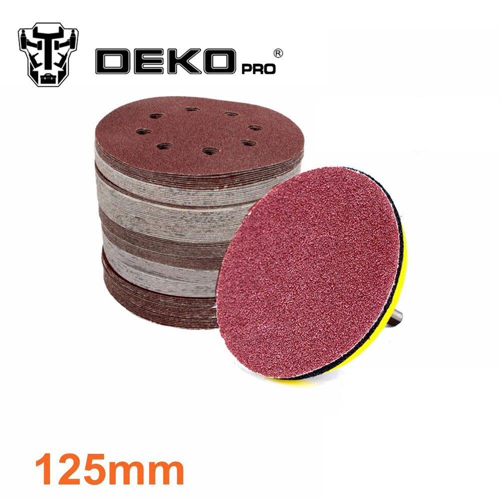 DEKOPRO 125mm Round Sandpaper Eight Hole Disk Sand 12 Sheets Polishing Discs Abrasive Tools 40 Pieces/ Lot