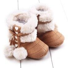 Moda Bolas Duplas Inverno Do Velo Do Bebê Sapatos Infantil Sapatos de Sola de Borracha Botas De Neve Da Menina do Menino de Lã Fur Sapatinho Macio Sole Berço bebe sapato