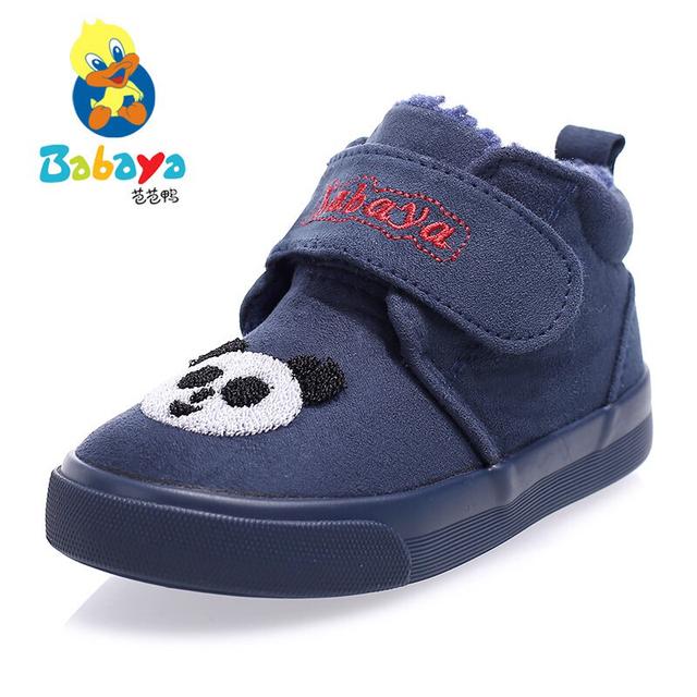 Diseñador de la marca nuevo Invierno caliente suave lindo de la historieta de lavado de cuero rebaño panda bebé lactante chico tobillo bota de la nieve ocasional plana shoes