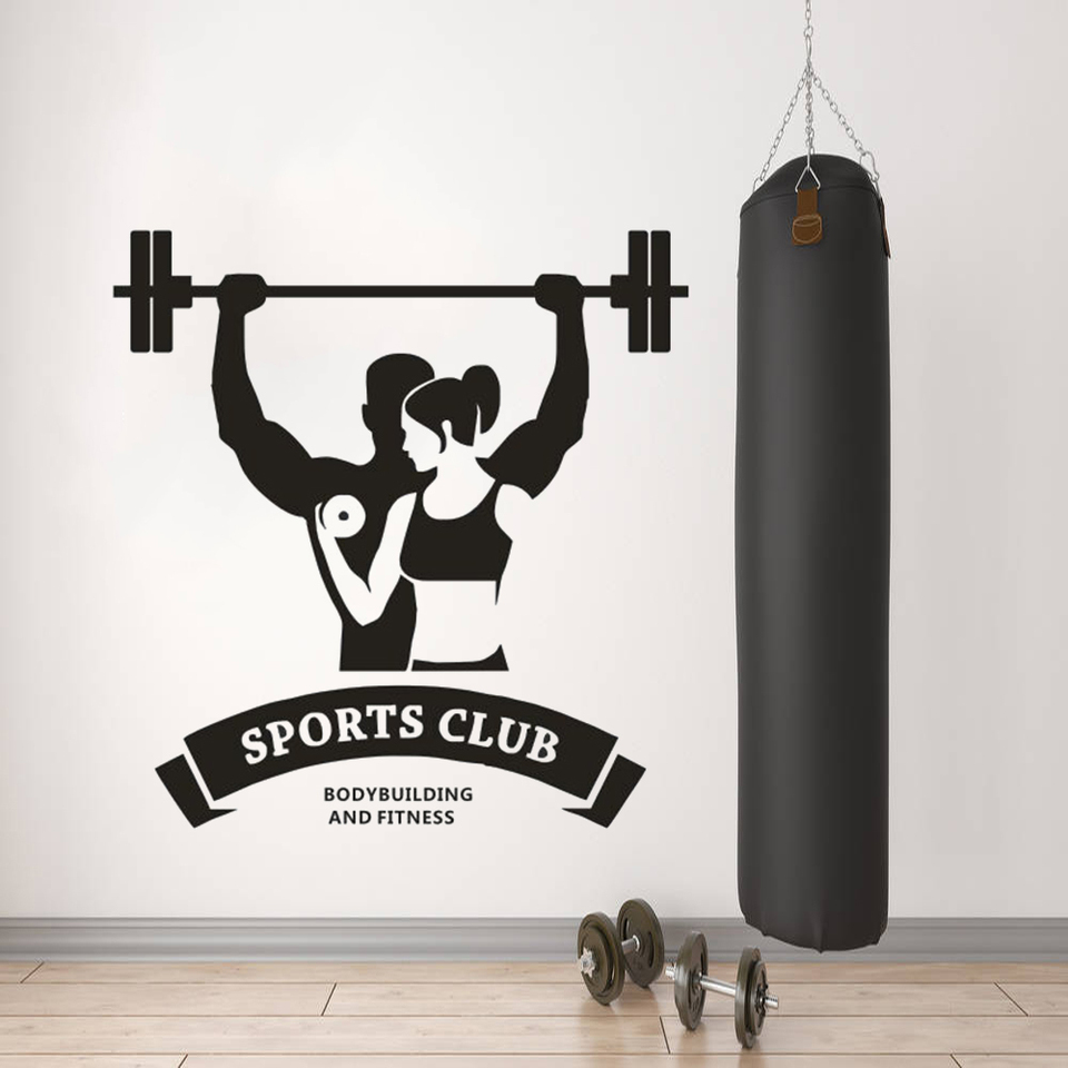 Sport Club Logo Wall Sticker Body Building And Fitness Wall Art Decal Gym Studio Decoration Dumbbell Vinyl Wall Poster Az342 Wall Stickers Aliexpress