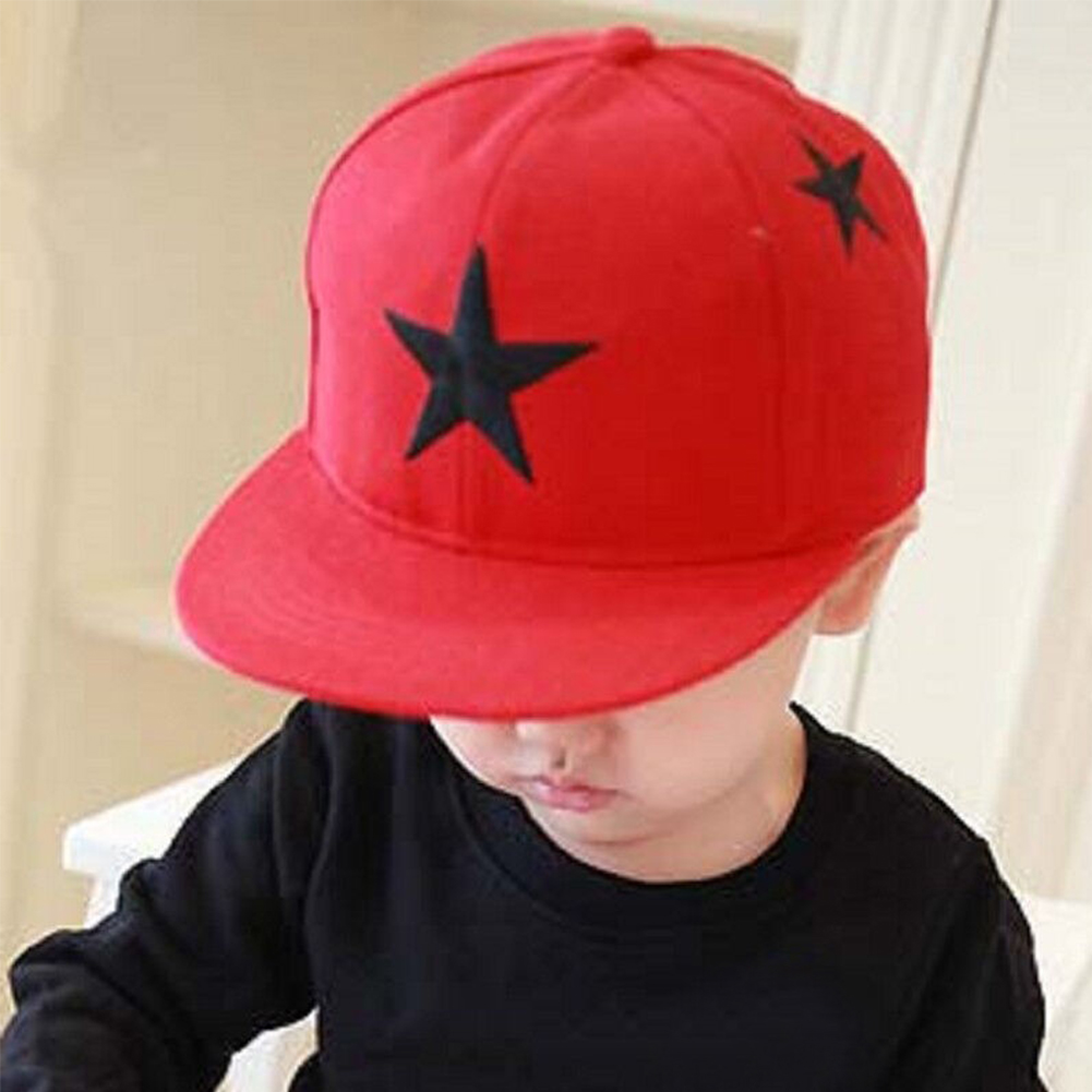 Boys Girls Snap Back Outdoor Wide Brim Kids Fashion Hip Hop Adjustable Star Embroidery Lightweight Canvas Sun Hat Baseball Cap(China)