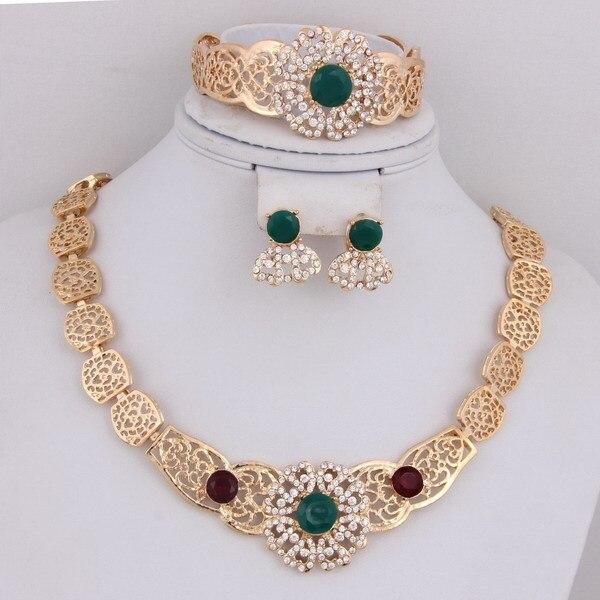 2017 Verde Rojo Africano Granos Del Rhinestone de la Novia de La Boda Collar de Accesorios de Moda Vintage de Cristal de Oro Conjuntos de Joyas