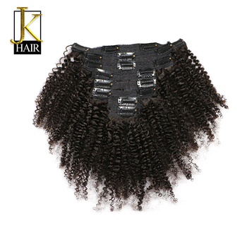 JK Hair Mongolian Afro Kinky Curly Weave Remy Hair Clip In Human Hair Extensions Natural Color Full Head 8PcsSet 120G Ship Free metalowe skrzydła dekoracyjne na ścianę