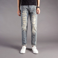 Japanese Style Vintage Designer Men S Jeans Elastic Slim Fit Destroyed Ripped Jeans Patch Pants Famous
