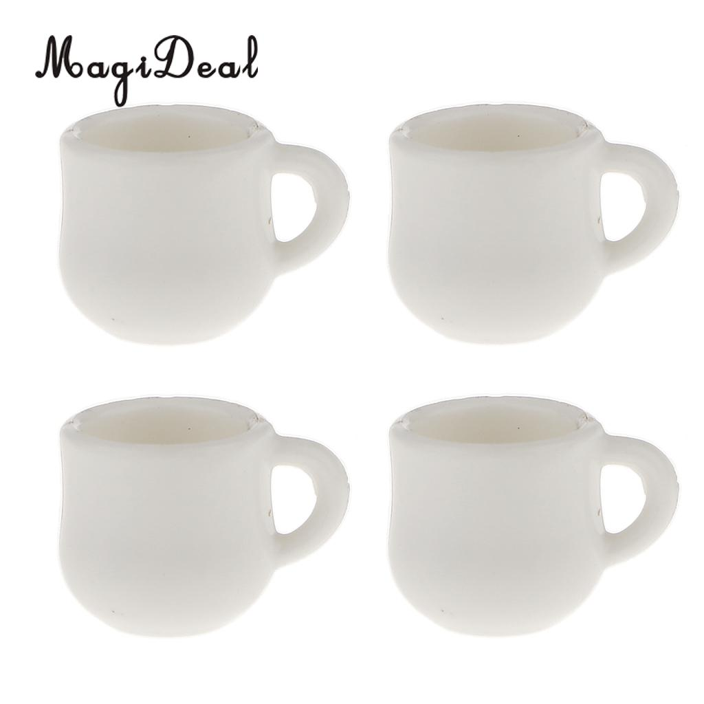 MagiDeal 4Pcs/Lot 1/12 Scale Dolls House Miniature White Cafe Tea Drink Cups Mugs For Coffee Shop Teahouse Restaurant Kitchen