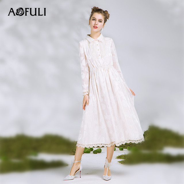 Aofuli Brand S 3xl 4xl 5xl Plus Size Dress 2018 New Women Long