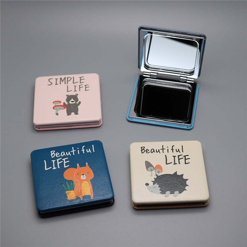 1pc new fashion <font><b>mirror</b></font> pu leather simple life portable folding double-sided <font><b>mirror</b></font> small square <font><b>mirror</b></font> portable creative
