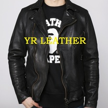YR!Free shipping.Pakistan tanning sheepskin.Brand Luxury japan style leather jacket,mens vintage slim genuine leather coat,