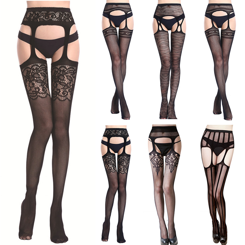 Women's Sexy Thigh High Stocking Women Lace Babydoll Belt Stay Up Stockings Underwear Nightwear Thin Fishnet Over Knee Socks