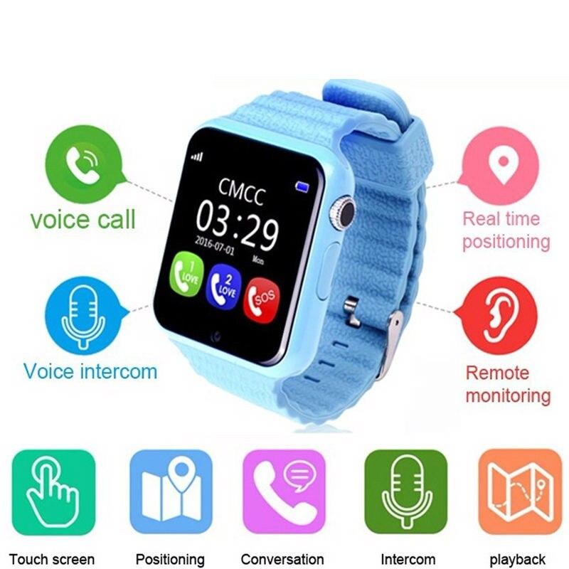 Enfants montre intelligente V7K GPS Smartwatch écran tactile avec caméra SOS localisation dispositif Tracker enfant coffre-fort enfants montre PK Q730 Q90 - 2