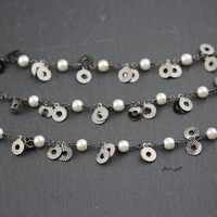 Gun Black Plated Copper Double Coins Links Jewelry,6mm,White Pearl Round Shape Beads Chain Necklace