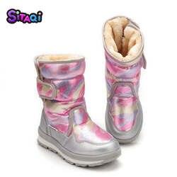 Обувь для девочек розовые сапоги 2018 новый стиль Детские теплые ботинки зимние теплые меховые противоскользящие подошва Плюс Размер 27 41