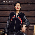 Women's Leather Jacket Peacock Totem Embroidery Clothing Short Paragraph Leather Jacket Sheep Skin